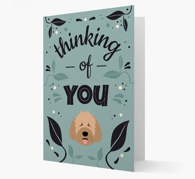 'Thinking of You' Floral Card with Spanish Water Dog Icon