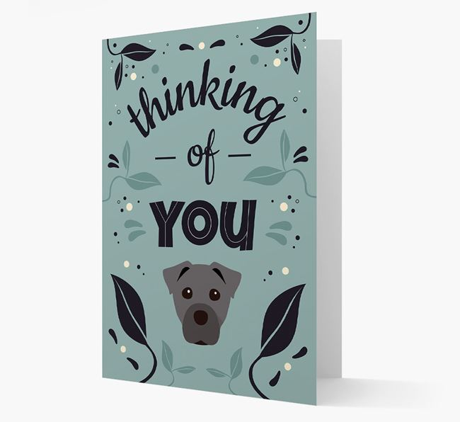'Thinking of You' Floral Card with Staffy Jack Icon