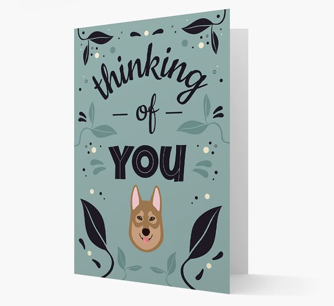 'Thinking of You' Floral Card with Tamaskan Icon