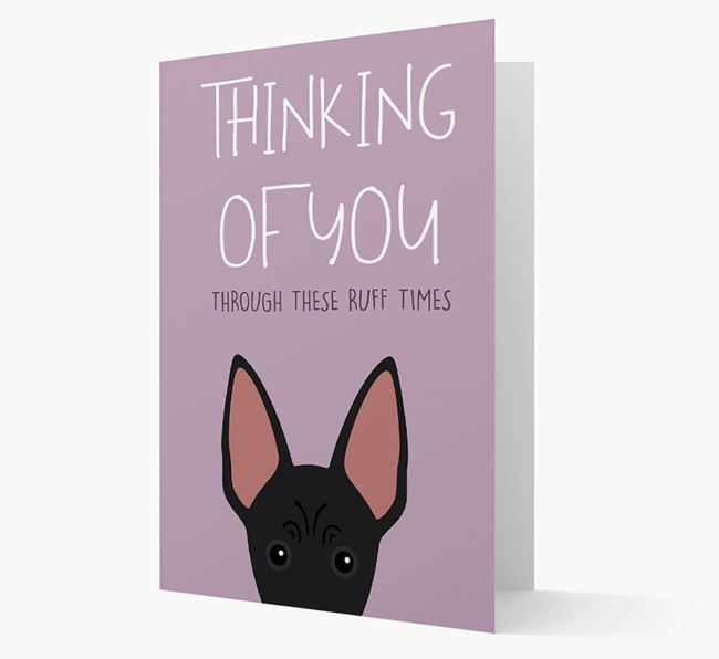 'Thinking of You Through These Ruff Times' Card with American Hairless Terrier Icon