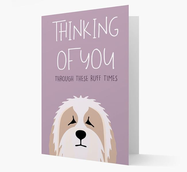 'Thinking of You Through These Ruff Times' Card with Bearded Collie Icon