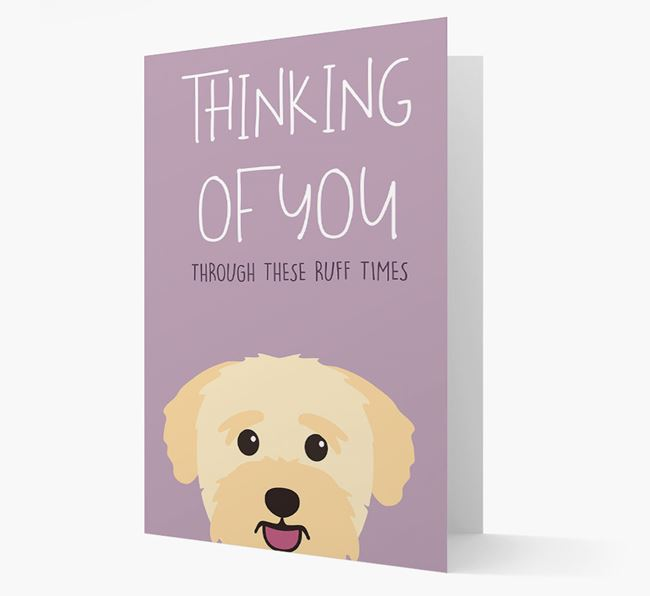 'Thinking of You Through These Ruff Times' Card with Bichon Yorkie Icon