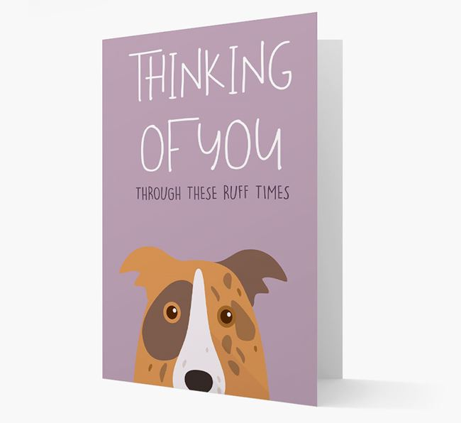 'Thinking of You Through These Ruff Times' Card with Border Collie Icon