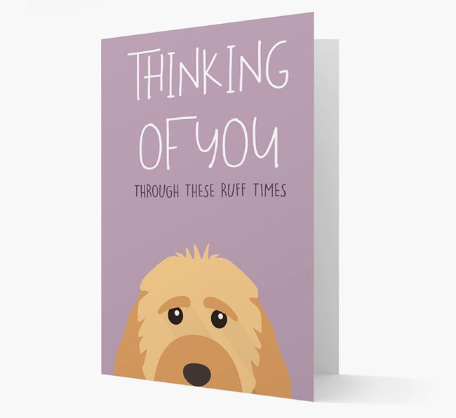 'Thinking of You Through These Ruff Times' Card with Cockapoo Icon