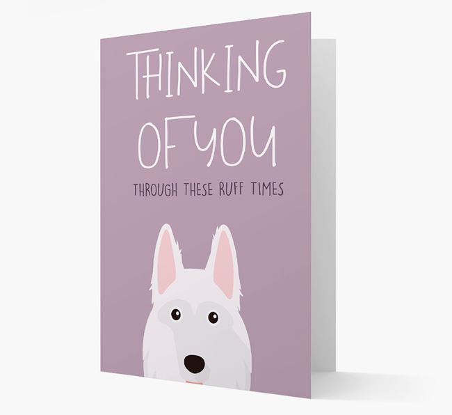 'Thinking of You Through These Ruff Times' Card with German Shepherd Icon