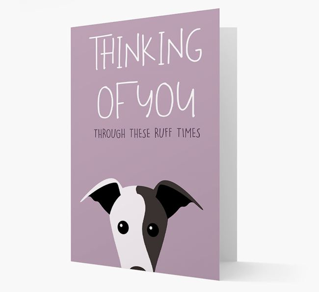 'Thinking of You Through These Ruff Times' Card with Greyhound Icon