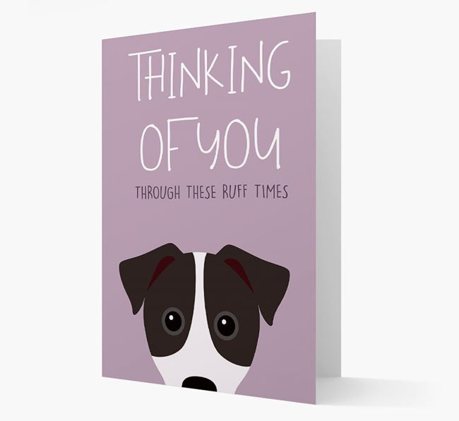 'Thinking of You Through These Ruff Times' Card with Parson Russell Terrier Icon