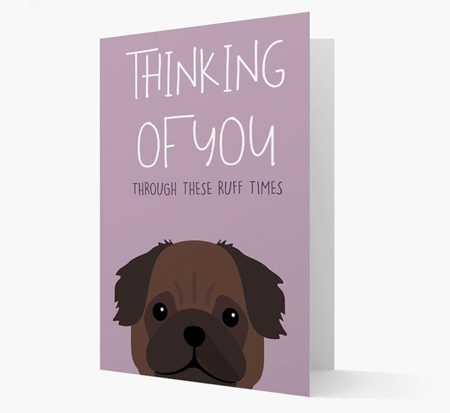 'Thinking of You Through These Ruff Times' Card with Pug Icon