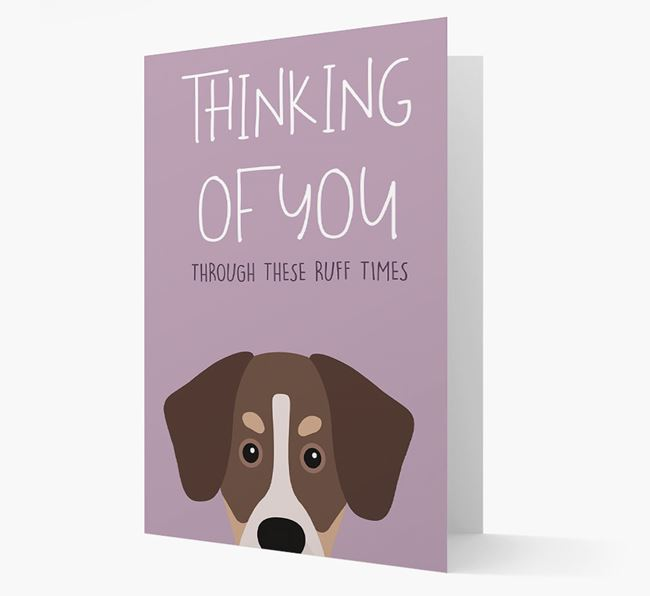 'Thinking of You Through These Ruff Times' Card with Siberian Cocker Icon