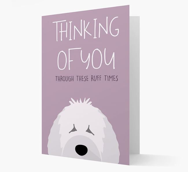 'Thinking of You Through These Ruff Times' Card with Spanish Water Dog Icon