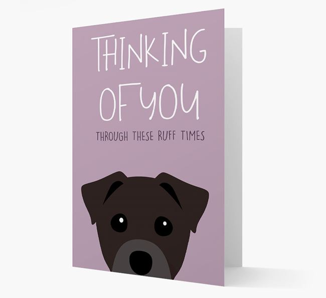 'Thinking of You Through These Ruff Times' Card with Staffy Jack Icon