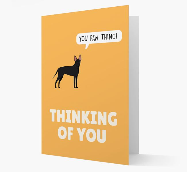 'Thinking of You, You Paw Thing!' Card with American Hairless Terrier Icon