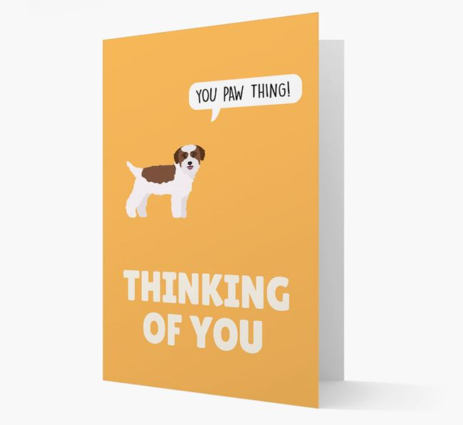 'Thinking of You, You Paw Thing!' Card with Bichon Yorkie Icon