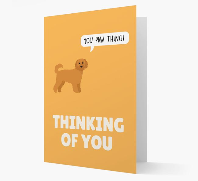 'Thinking of You, You Paw Thing!' Card with Cavapoochon Icon