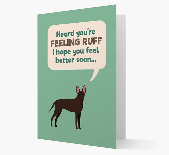 'Heard you're feeling Ruff...' Get Well Soon Card with American Hairless Terrier Icon