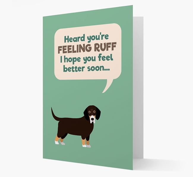 'Heard you're feeling Ruff...' Get Well Soon Card with Bassador Icon