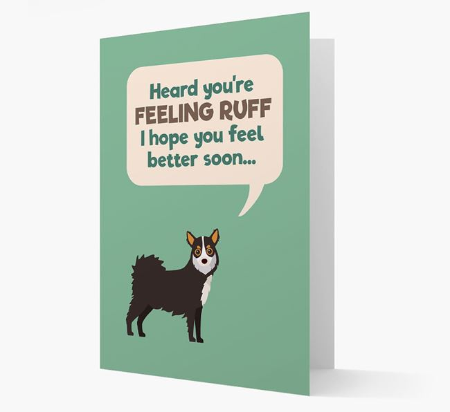 'Heard you're feeling Ruff...' Get Well Soon Card with Chihuahua Icon