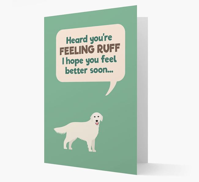 'Heard you're feeling Ruff...' Get Well Soon Card with Golden Retriever Icon