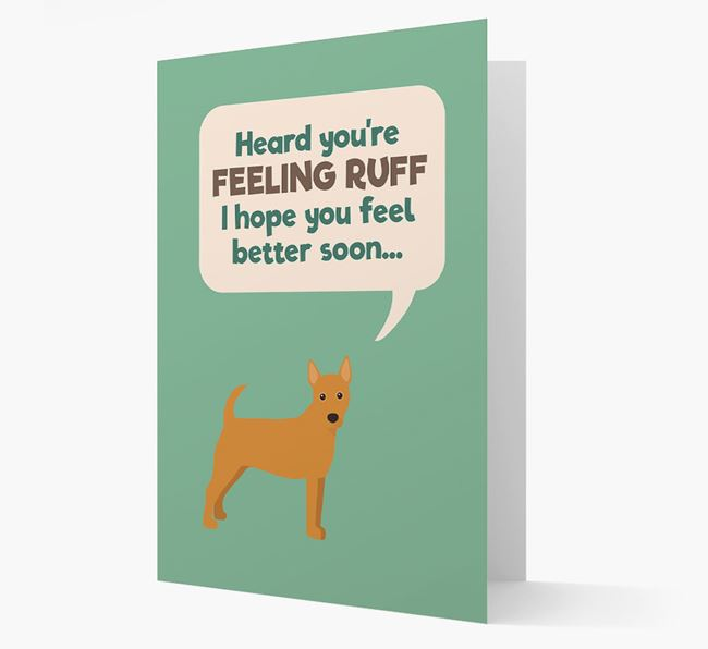 'Heard you're feeling Ruff...' Get Well Soon Card with Portuguese Podengo Icon