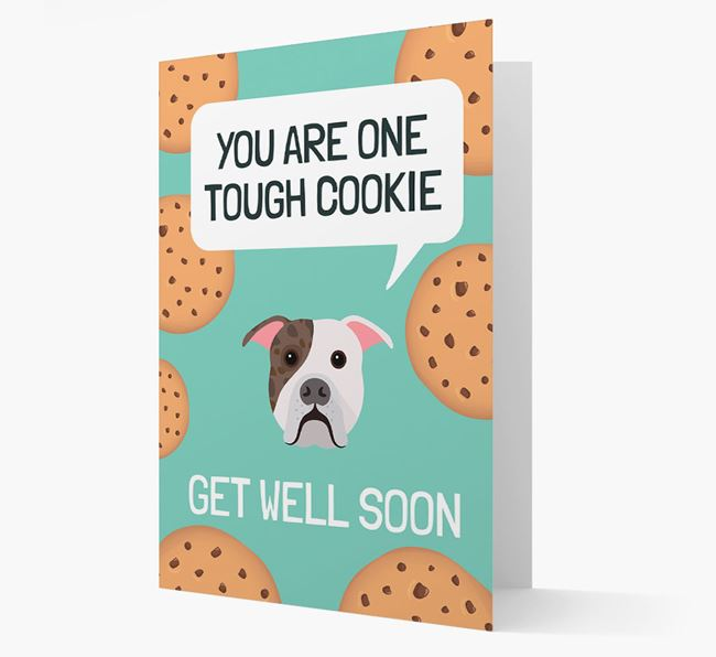 'You are one tough Cookie' Get Well Soon Card with American Bulldog Icon
