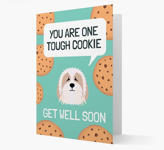 'You are one tough Cookie' Get Well Soon Card with Bearded Collie Icon