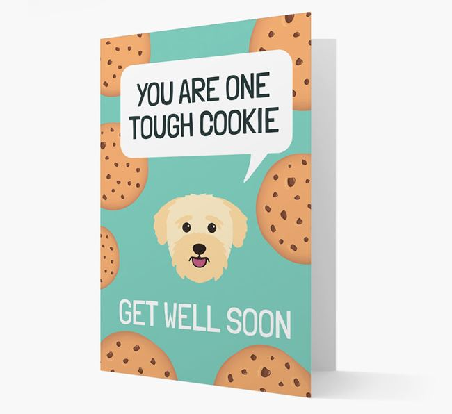 'You are one tough Cookie' Get Well Soon Card with Bichon Yorkie Icon