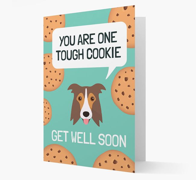 'You are one tough Cookie' Get Well Soon Card with Border Collie Icon