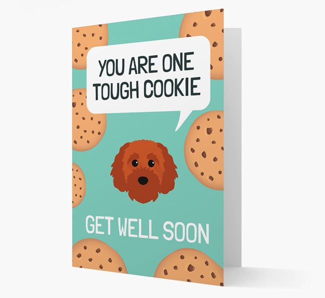 'You are one tough Cookie' Get Well Soon Card with Cavapoochon Icon
