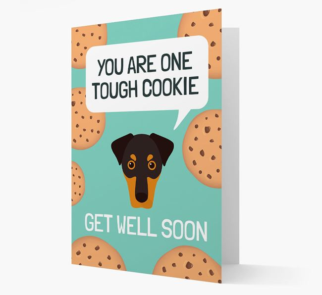 'You are one tough Cookie' Get Well Soon Card with Dobermann Icon