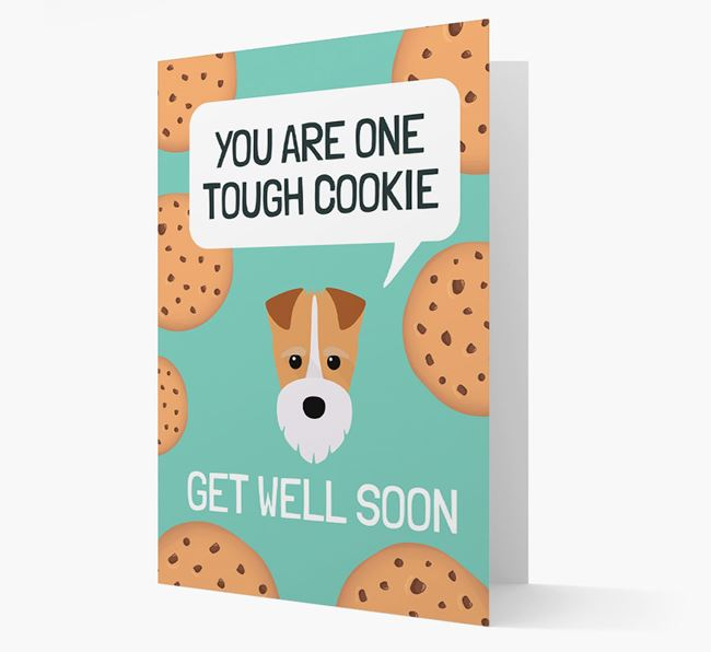 'You are one tough Cookie' Get Well Soon Card with Fox Terrier Icon