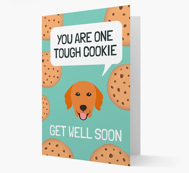 'You are one tough Cookie' Get Well Soon Card with Golden Retriever Icon