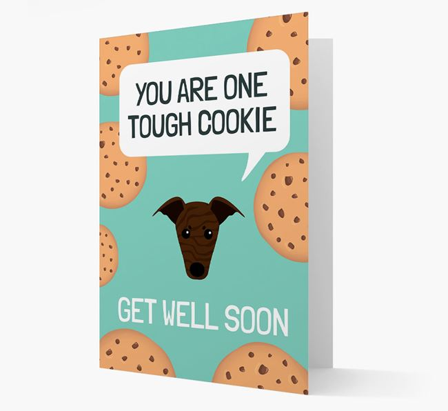 'You are one tough Cookie' Get Well Soon Card with Greyhound Icon