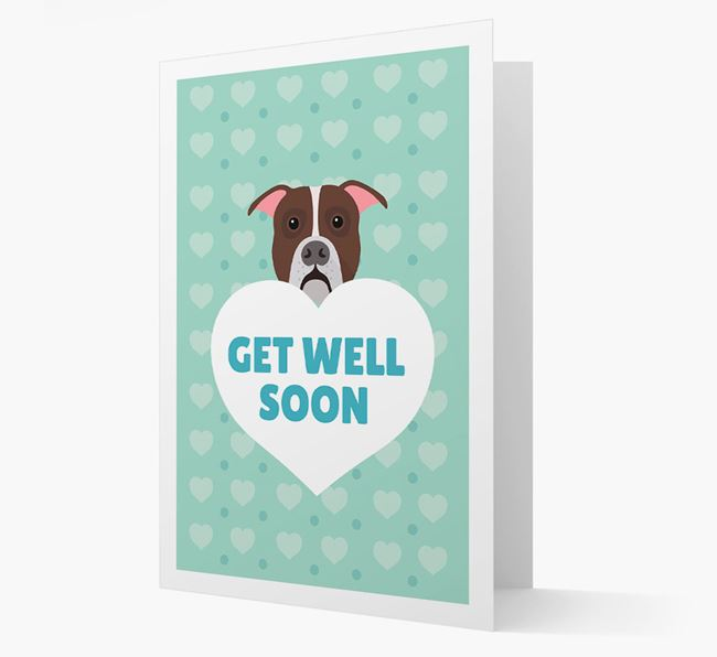 'Get Well Soon' Card with American Bulldog Icon