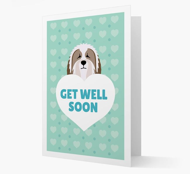 'Get Well Soon' Card with Bearded Collie Icon