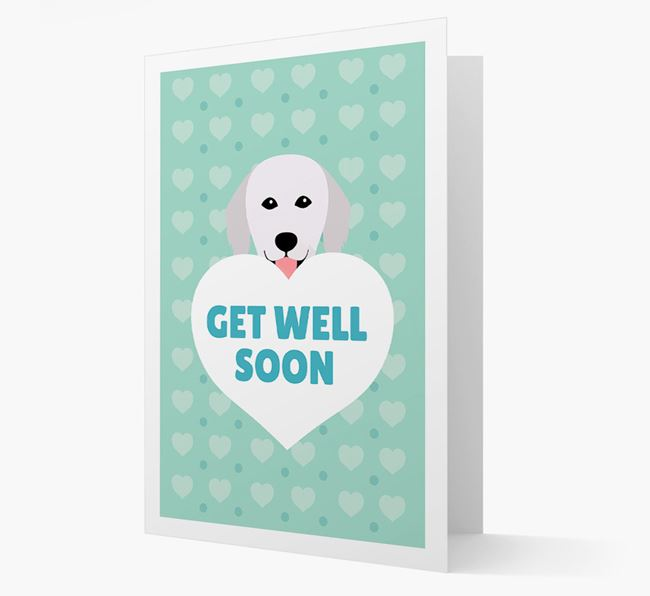 'Get Well Soon' Card with Hungarian Kuvasz Icon