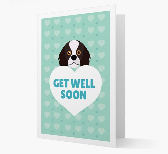 'Get Well Soon' Card with King Charles Spaniel Icon