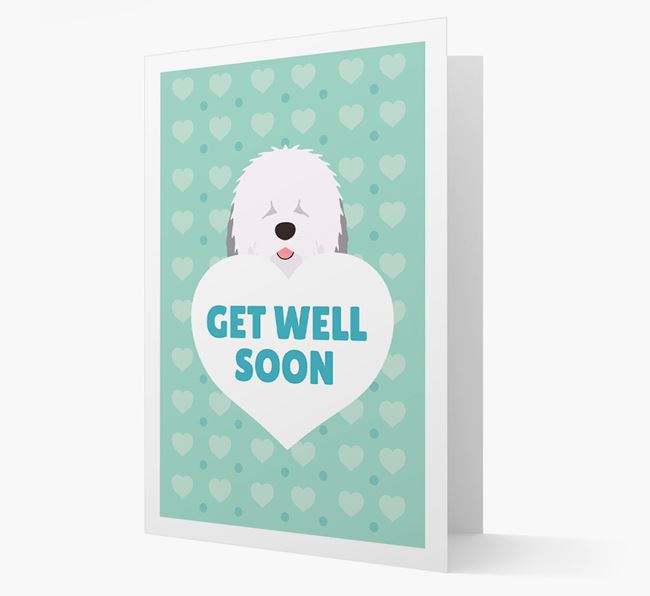 'Get Well Soon' Card with Old English Sheepdog Icon