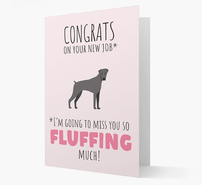 'Congrats on your new job... I'm going to miss you!' Card with Dobermann Icon