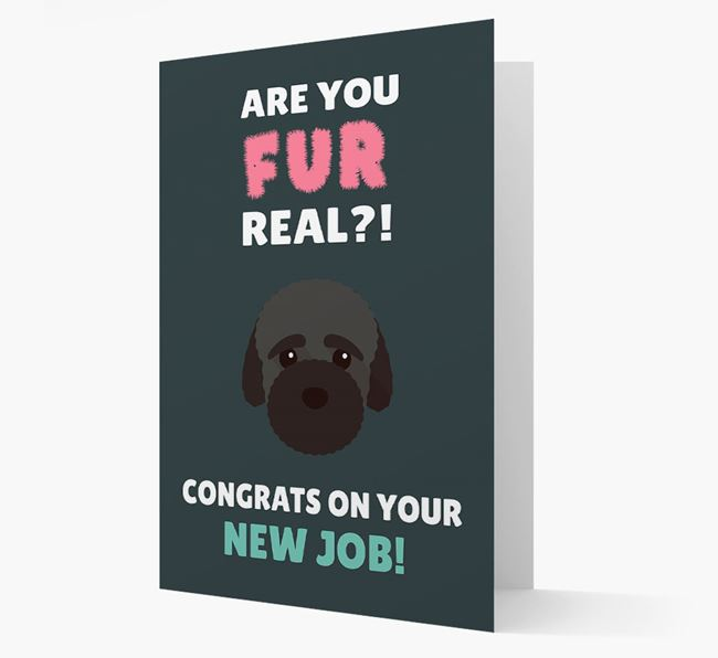 'Are you for real?! Congrats on your new job!' Card with Bich-poo Icon
