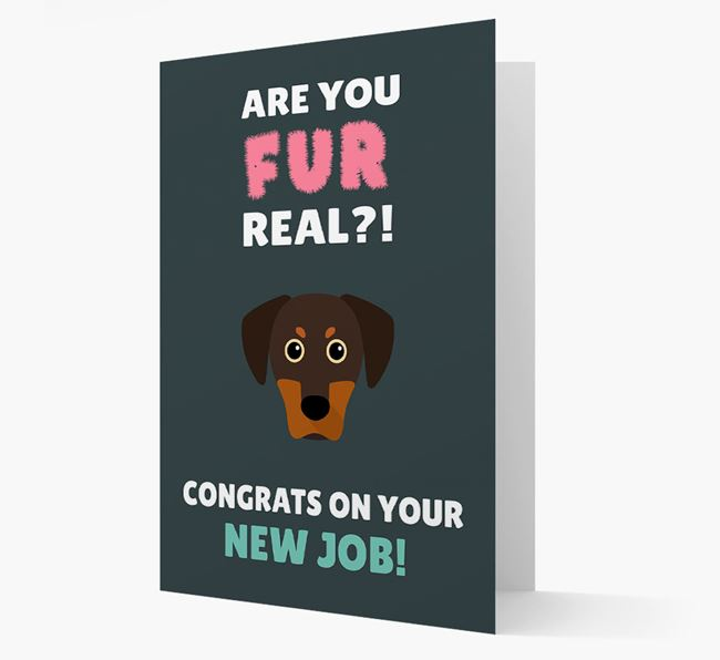 'Are you for real?! Congrats on your new job!' Card with Blue Lacy Icon