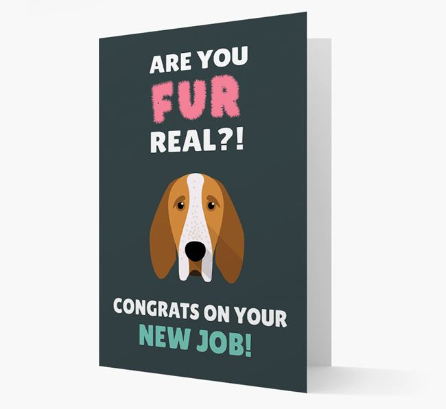 'Are you for real?! Congrats on your new job!' Card with Bracco Italiano Icon