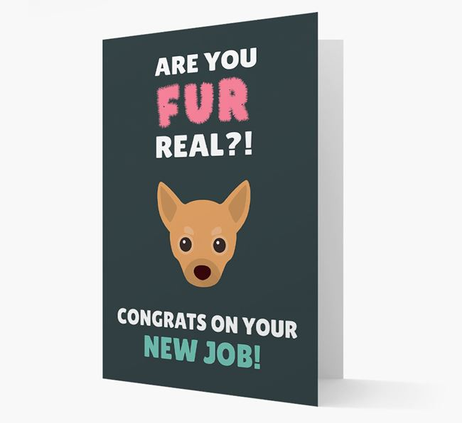 'Are you for real?! Congrats on your new job!' Card with Chihuahua Icon