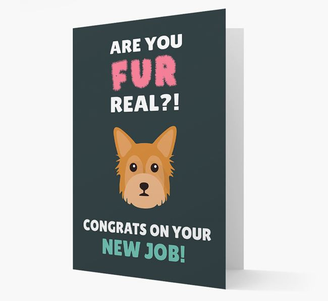 'Are you for real?! Congrats on your new job!' Card with Chorkie Icon