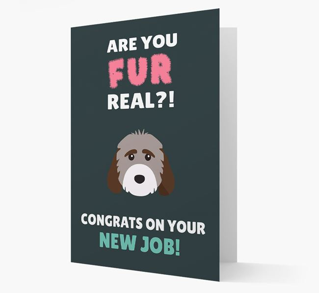'Are you for real?! Congrats on your new job!' Card with Cockapoo Icon