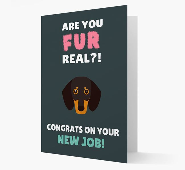 'Are you for real?! Congrats on your new job!' Card with Dog Icon