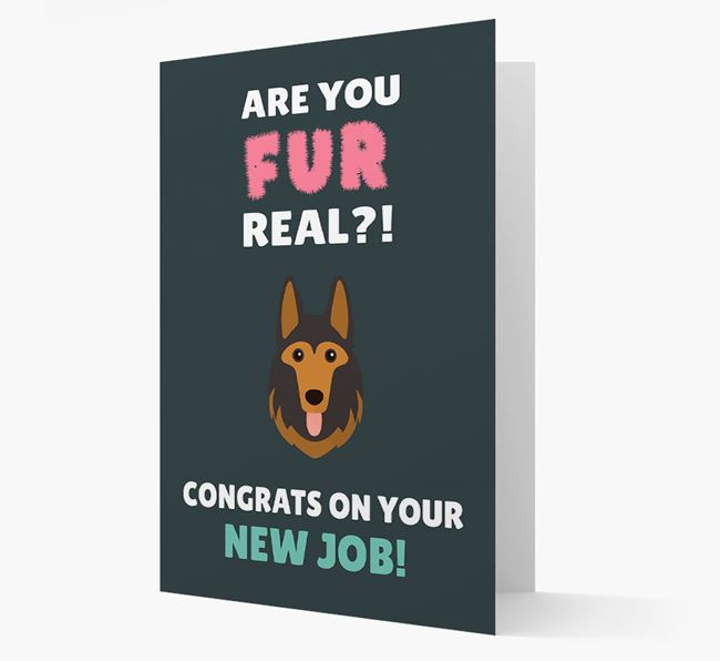'Are you for real?! Congrats on your new job!' Card with German Shepherd Icon