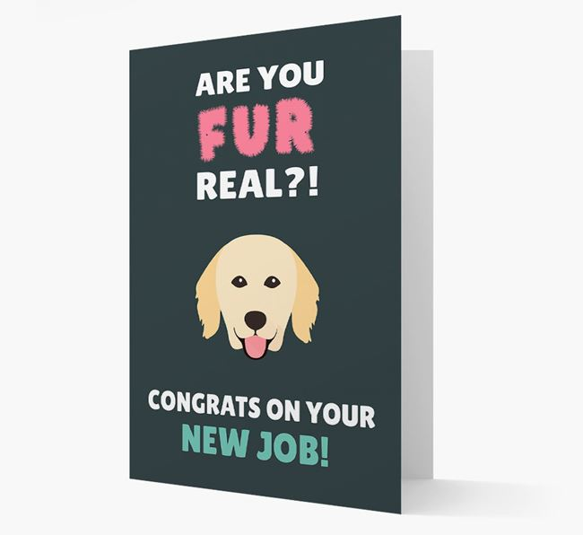 'Are you for real?! Congrats on your new job!' Card with Hovawart Icon