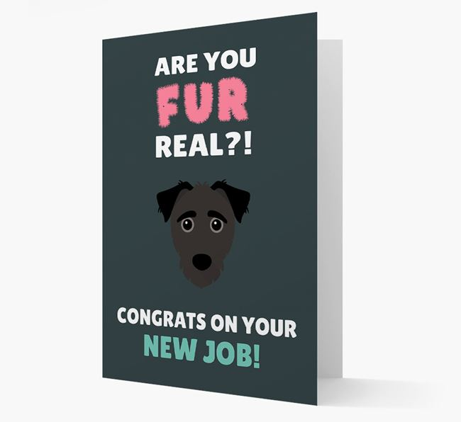 'Are you for real?! Congrats on your new job!' Card with Jack-A-Poo Icon