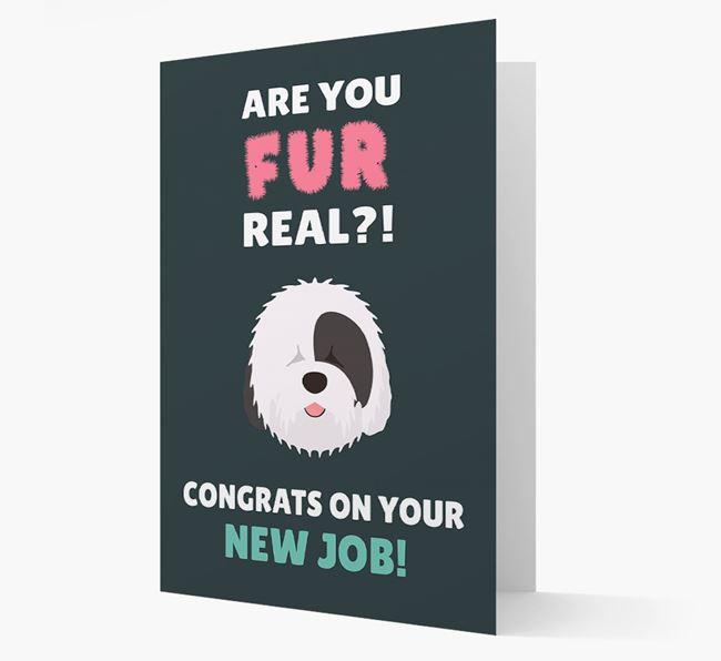 'Are you for real?! Congrats on your new job!' Card with Old English Sheepdog Icon