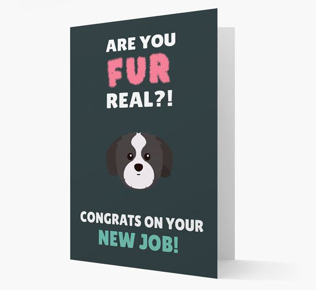 'Are you for real?! Congrats on your new job!' Card with Shih Tzu Icon
